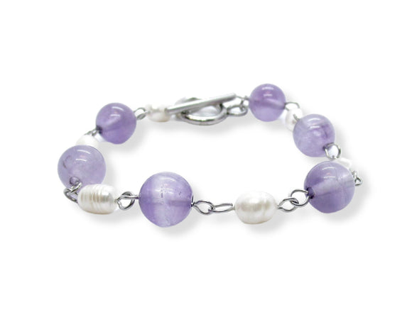 Custom Amethyst Beaded Toggle Bracelet with Freshwater Pearls