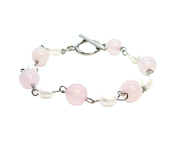 Custom Rose Quartz Toggle Bracelet