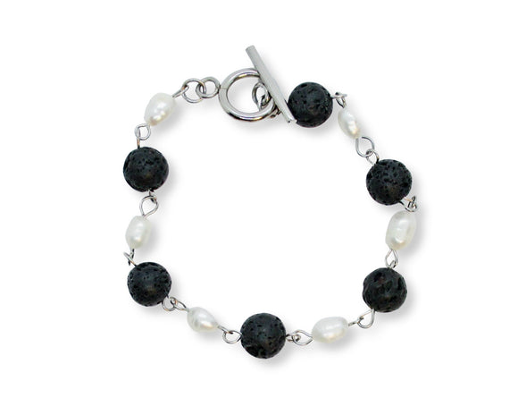 Custom Black Lava Rock Stone Toggle Bracelet with Freshwater Pearls
