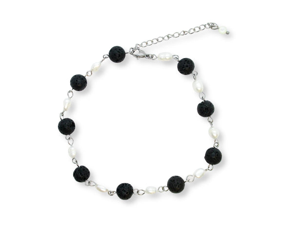 Custom Black Lava Rock Stone Ankle Bracelet with Freshwater Pearls