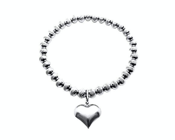 Heart Char, Beaded Stretch Bracelet, Stainless Steel