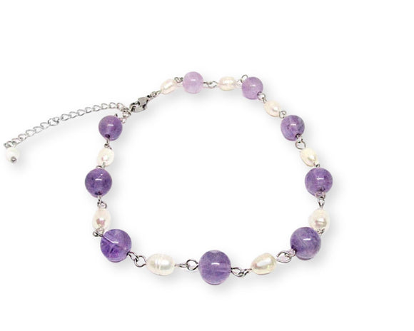 Custom Amethyst Ankle Bracelet with Freshwater Pearls