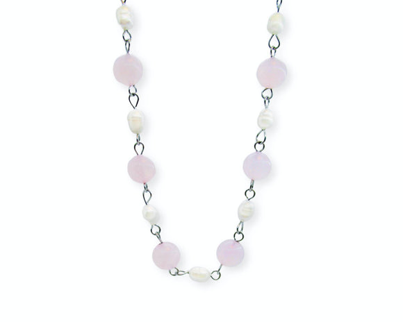 Custom Rose Quartz Beaded Necklace, Freshwater Pearls