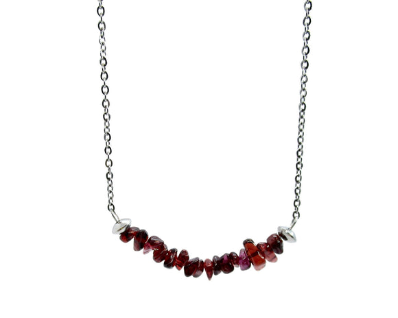 Garnet Chip Bar Pendant Necklace