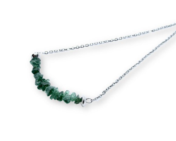 Green Aventurine Chip Bar Necklace