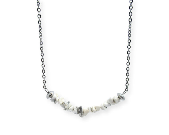 Howlite Chip Bar Necklace