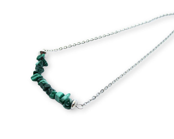Malachite Chip Bar Necklace