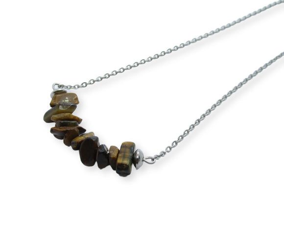 Tiger Eye Chip Bar Necklace