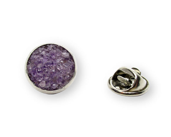Crushed Amethyst Tie Tack Pin