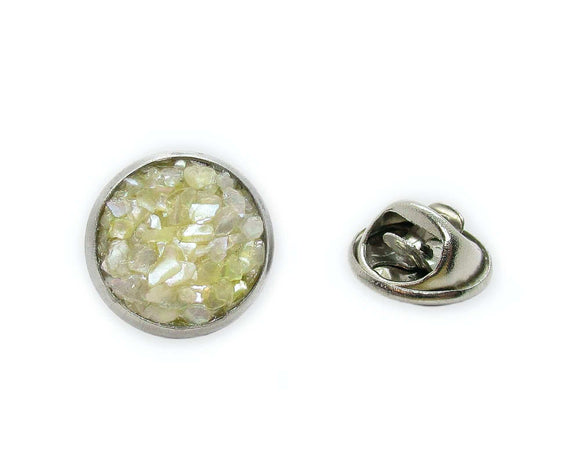 mens crushed mother of pearl tie tack pin