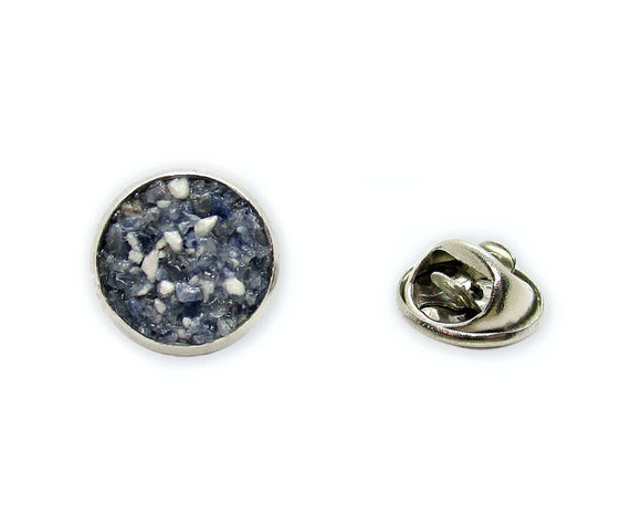 Mens Crushed Sodalite Tie Tack Pin