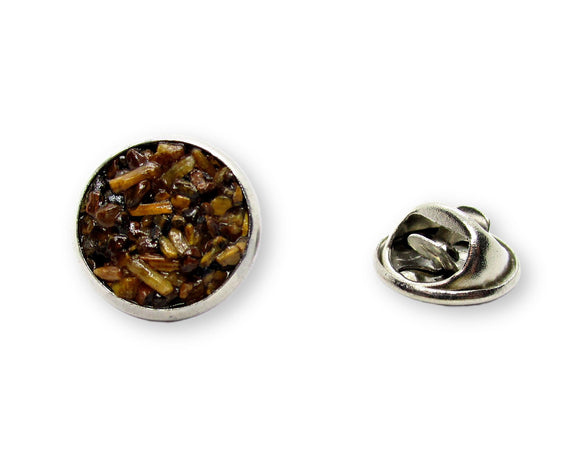 Mens Crushed Tiger Eye Tie Tack Pin