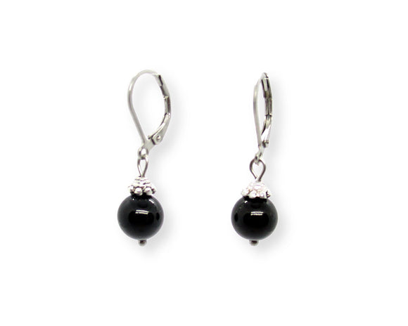 Custom Black Onyx Drop Leverback Earrings