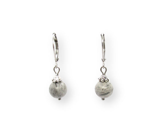 Custom Gray Picture Jasper Drop Leverback Earrings
