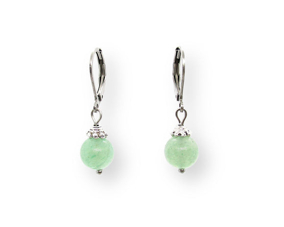Custom Green Aventurine Drop Leverback Earrings