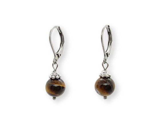 Custom Tiger Eye Drop Leverback Earrings