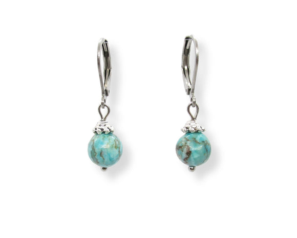 Custom Turquoise Drop Leverback Earrings