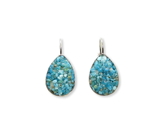 Crushed Turquoise Teardrop Leverback Earrings