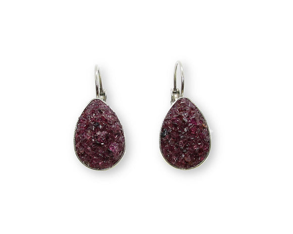 Garnet Teardrop Leverback Earrings, Stainless Steel Silver Earrings, Crushed Gemstone Lever Back Earrings, Raw Stone Inlay
