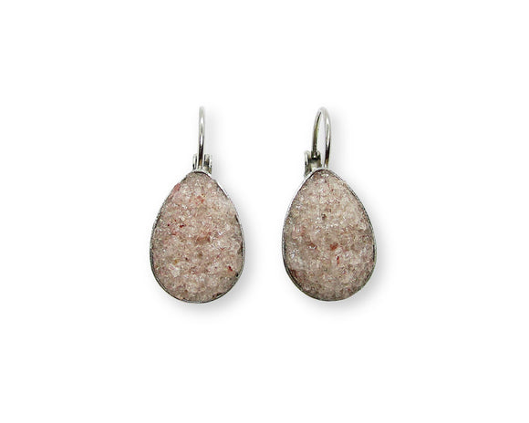 Crushed Pink Aventurine Teardrop Leverback Earrings
