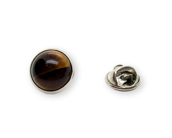 Mens Natural Tiger Eye Tie Tack Pin