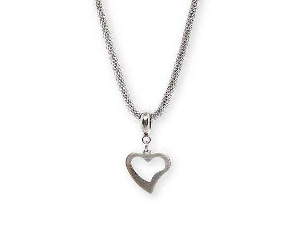 Whimsical Open Heart Pendant Necklace, Stainless Steel Mesh Chain