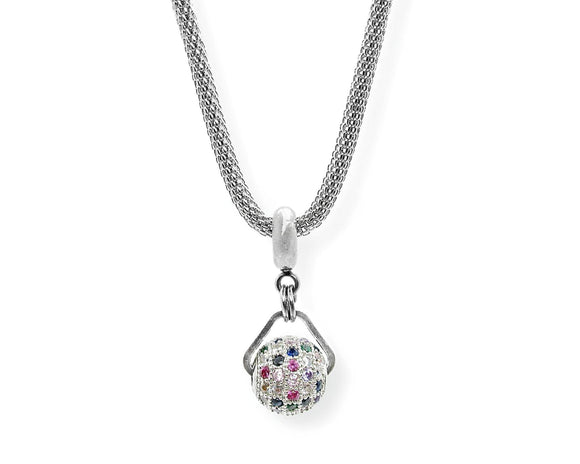 Multicolor Micro Pave Cubic Zirconia Ball Drop Pendant, Stainless Steel Mesh Chain