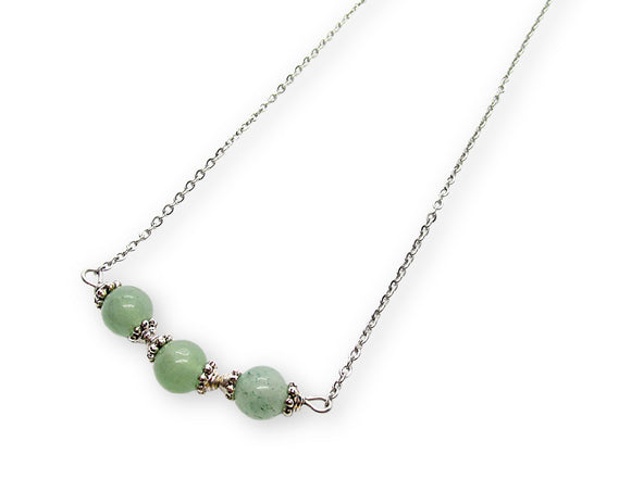 Green Aventurine Beaded Bar Necklace