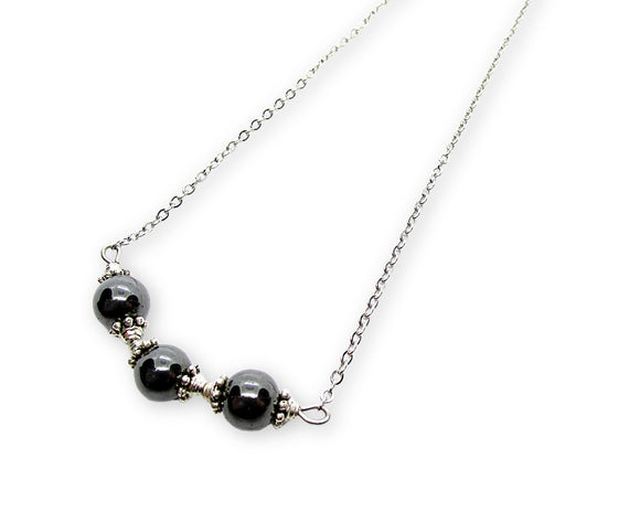 Hematite Beaded Bar Necklace