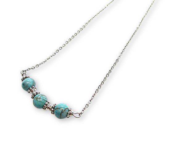 Turquoise Beaded Bar Pendant Necklace