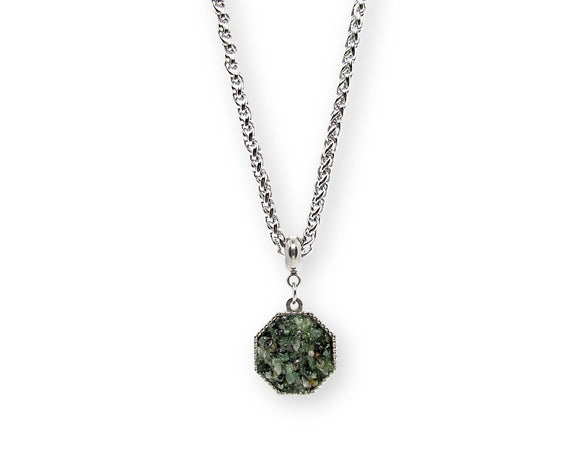 mens crushed emerald hexagon pendant necklace