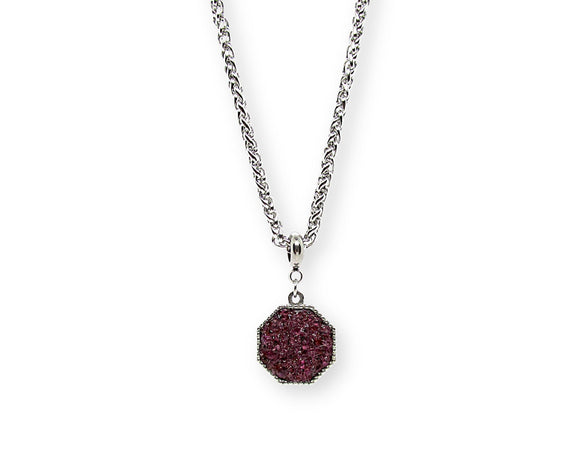 Mens Crushed Garnet Hexagon Pendant Necklace