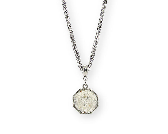 Mens Crushed Howlite Hexagon Pendant Necklace