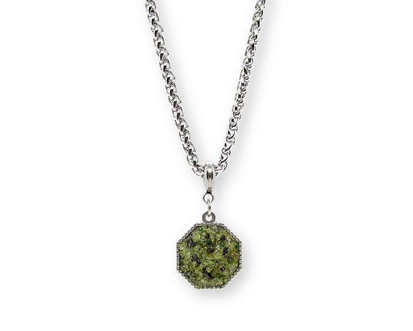 Mens Crushed Peridot Hexagon Pendant Necklace