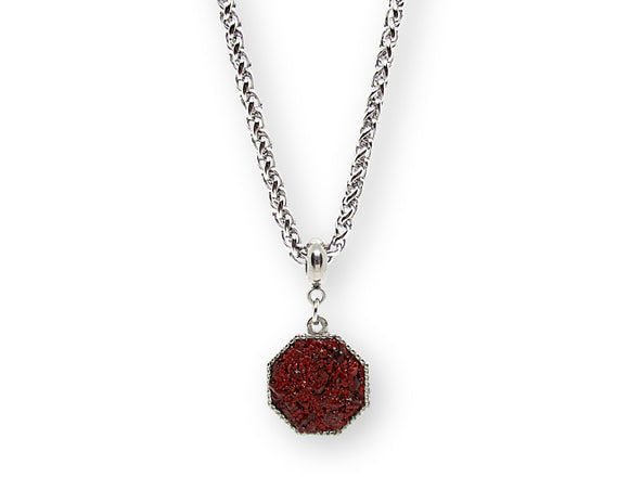 Mens Crushed Red Jasper Hexagon Pendant Necklace