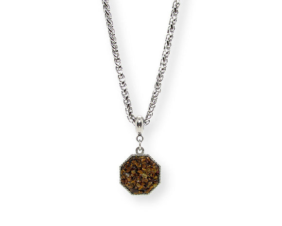 Mens Crushed Tiger Eye Hexagon Pendant Necklace