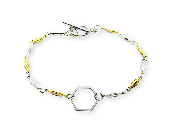 Hexagon Charm Toggle Bracelet