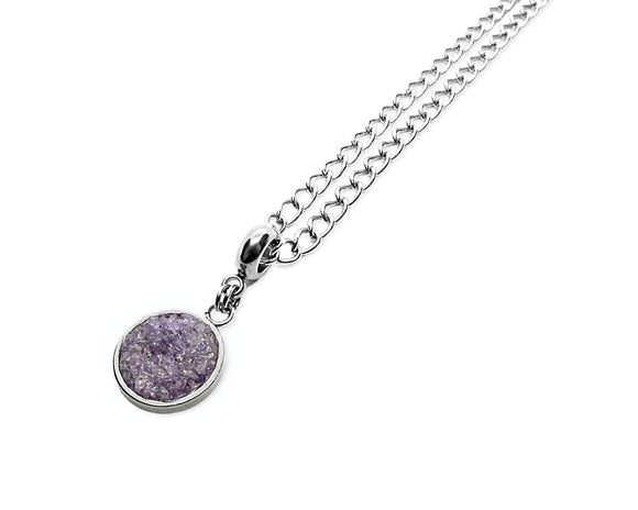 Mens Crushed Amethyst Round Pendant Necklace