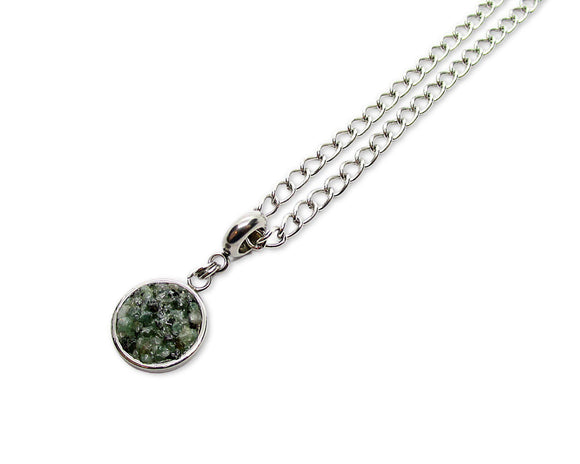 mens crushed emerald round pendant necklace