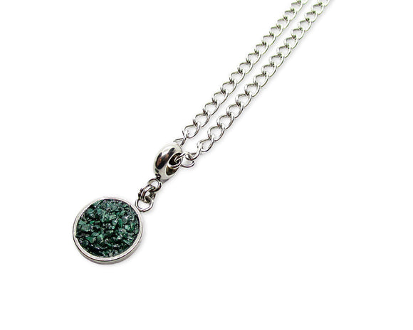 Mens Crushed Malachite Round Pendant Necklace