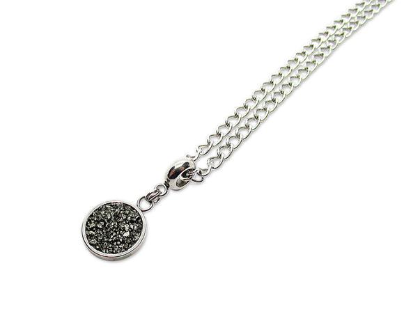 mens crushed pyrite round pendant necklace