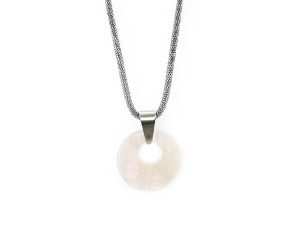 Rose Quartz Donut Pendant Necklace, Stainless Steel Mesh Chain
