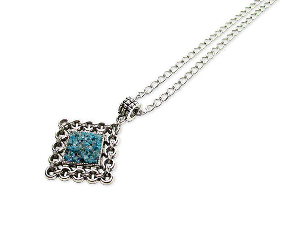 Mens Crushed Chrysocolla Rhombus Pendant Necklace
