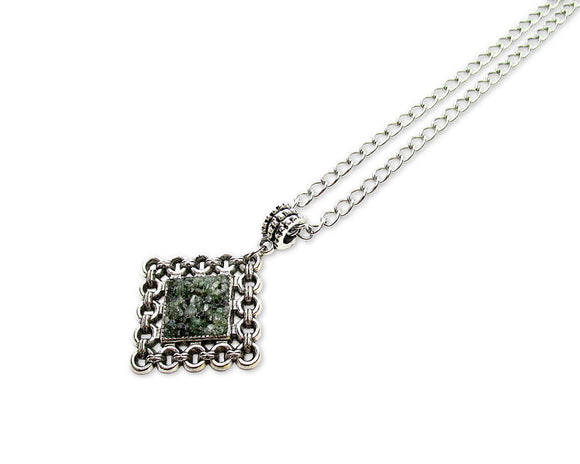 Mens Crushed Emerald Rhombus Pendant Necklace