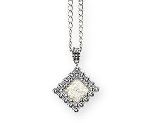 Mens Crushed Howlite Rhombus Pendant Necklace