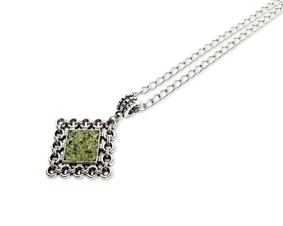Mens Crushed Peridot Rhombus Pendant Necklace