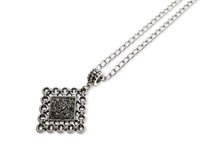 mens crushed pyrite rhombus pendant necklace