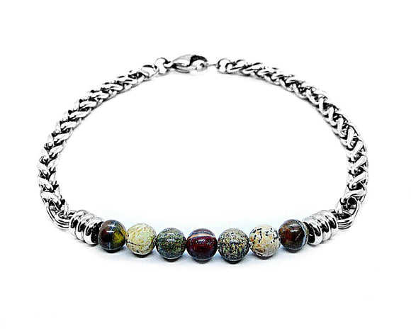 Mens Multicolor Jasper Bar Bracelet, Silver Stainless Steel Wheat Chain Bracelet, Natural Gemstone Beaded Bracelet