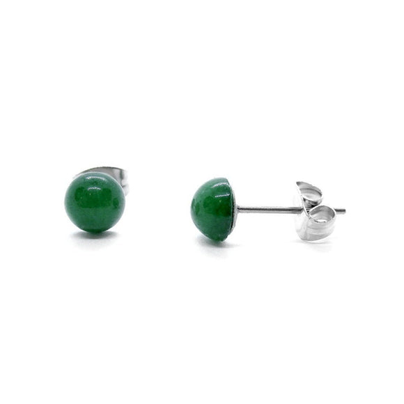 Custom Green Jade Stud Earrings