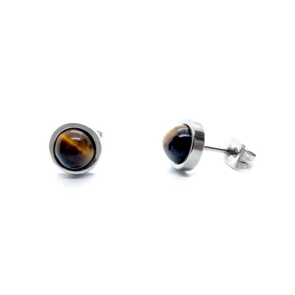 Custom Tiger Eye Flat Frame Stud Earrings